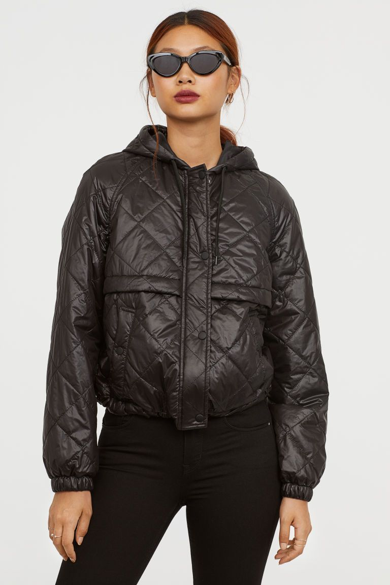402561605e Quilted Jacket with Hood - Black - Ladies