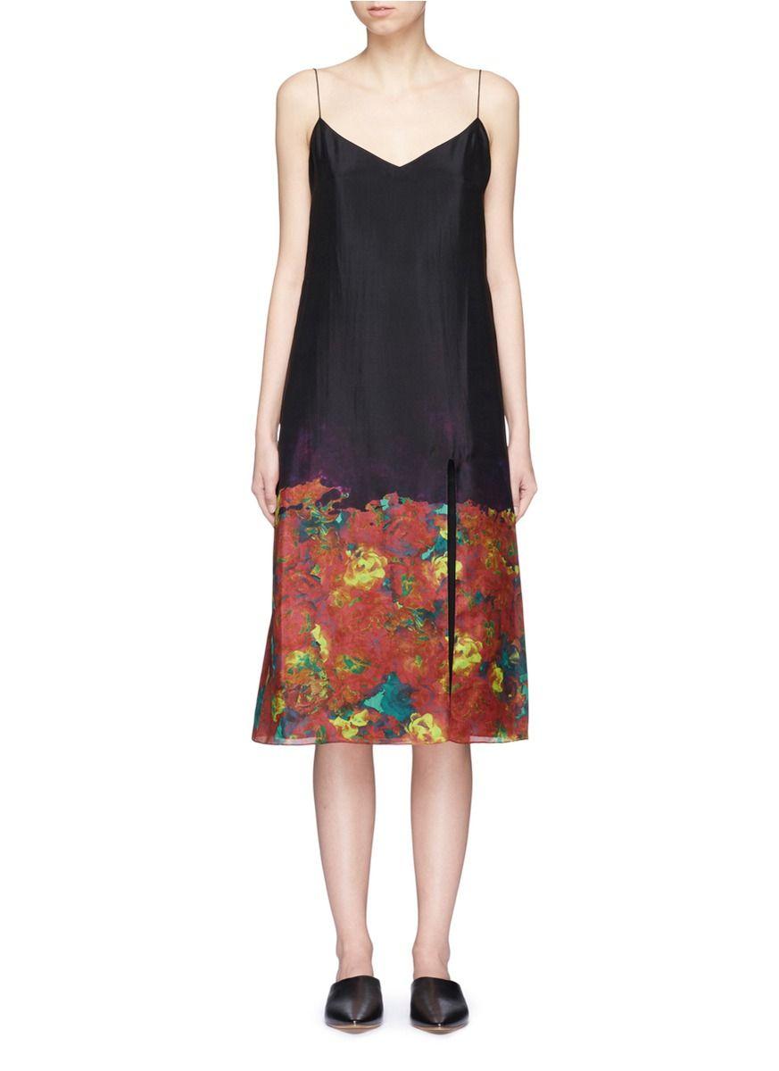 Acne Studios Sea Flower Print Silk Camisole Dress Acnestudios Cloth