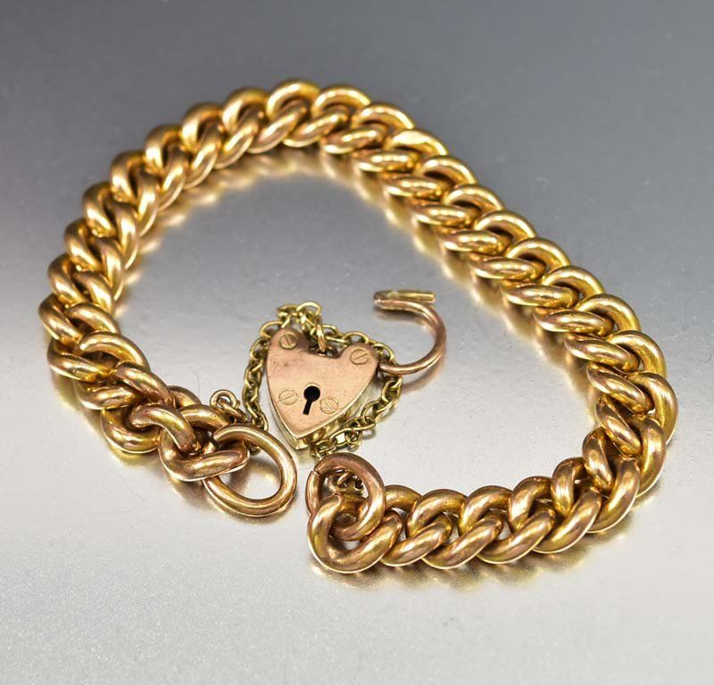 Antique Rose Gold Heart Padlock Curb Chain Bracelet