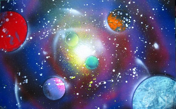 Spray Paint Art Original Space Galaxy Large Poster Painting
