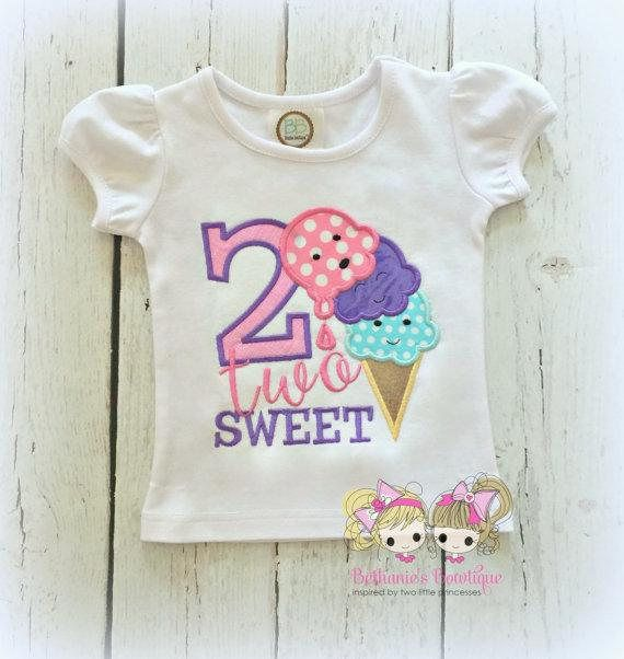 77ab828b Ice Cream Birthday Shirt- TWO sweet - 2nd birthday shirt - ice cream themed birthday  shirt - 2 two sweet - personalized 2nd birthday shirt