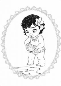 Baby Moana With Her Shell Coloring Page