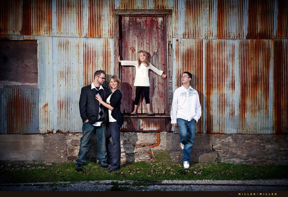 Family portrait ideas rustic love the corriguated iron background