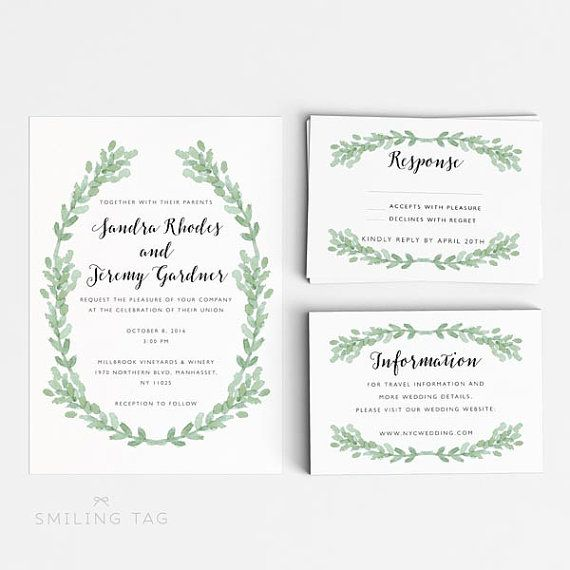 Digital Printable Watercolor Romantic Botanical Garden Wedding