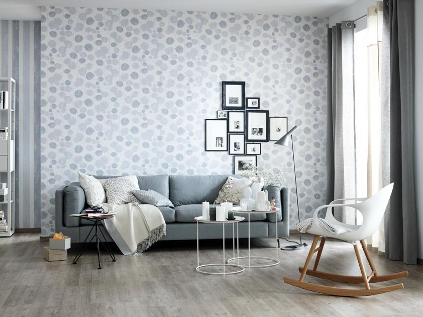 Einrichten mit der SCHÖNER WOHNEN-KOLLEKTION 2015 Ein Wohnzimmer - graue tapete wohnzimmer