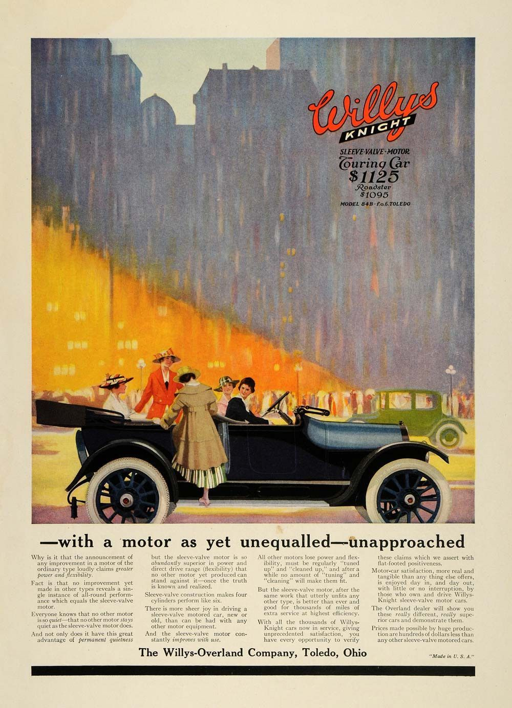 1916 Ad Willys Overland Motors Knight Touring Car Model Women City Csm1 Willys Touring Car Model