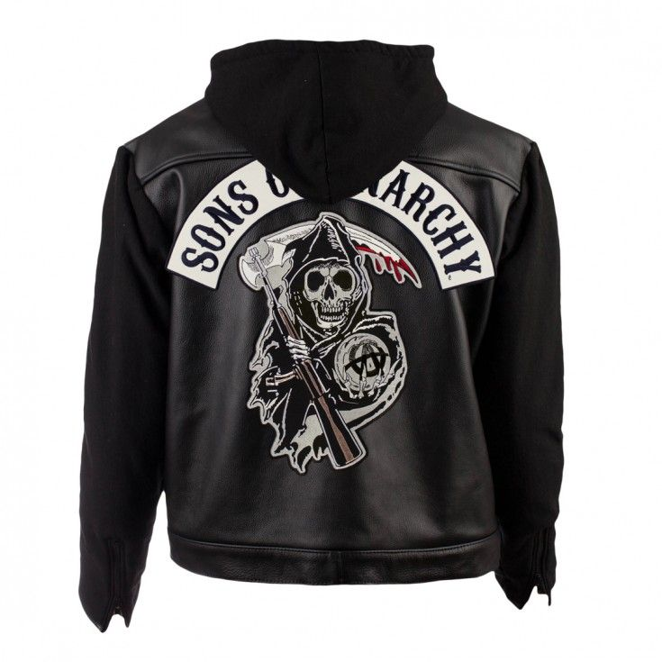 Leather Fleece Highway Jacket Fx Sons Of Anarchy Shop Sons Of Anarchy Hoodie Leather Hoodie Jackets