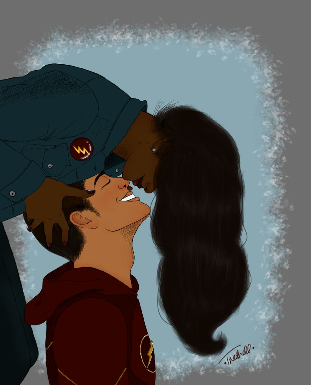Flash Iris West and Barry Allen kisses fanart interracial love