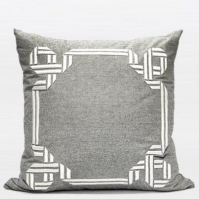 G Home Collection Luxury Textured Frame Throw Pillow Wayfair In 2020 Embroidered Throw Pillows Embroidered Pillow Covers Grey Throw Pillows