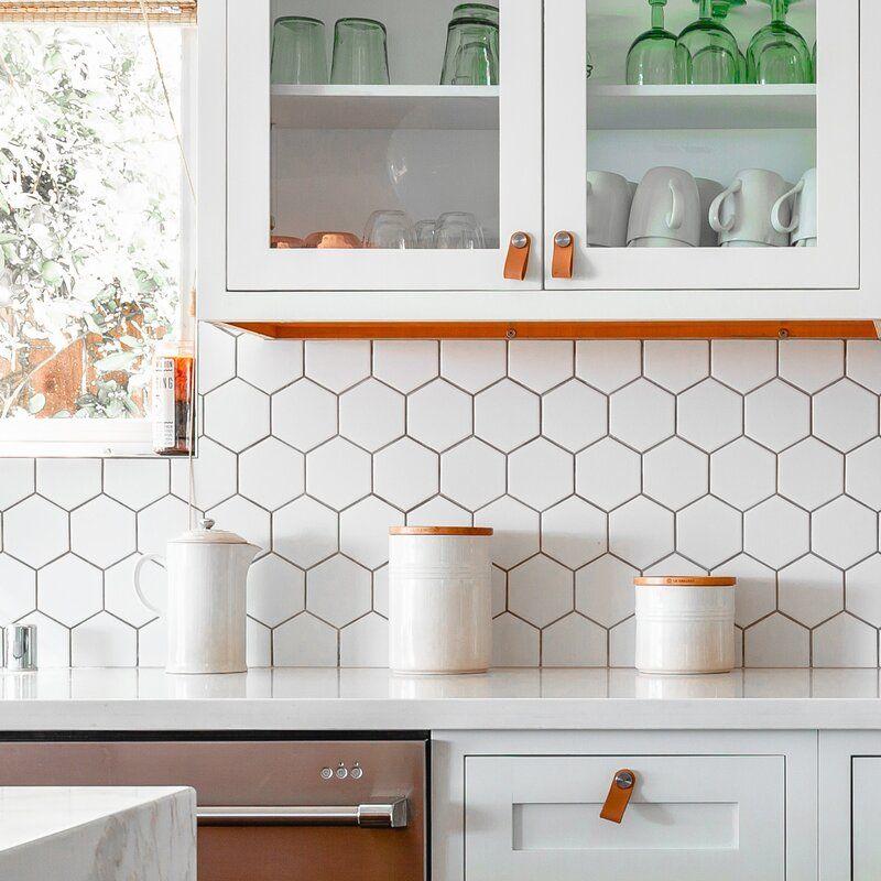 4 X 4 Porcelain Honeycomb Mosaic Wall Floor Tile In 2021 Modern Kitchen Backsplash Kitchen Backsplash Designs Backsplash Kitchen White Cabinets