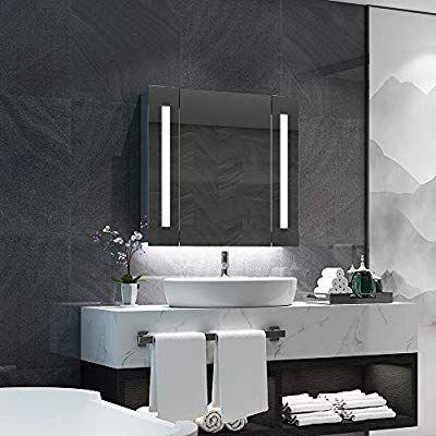 quavikey 650 x 600mm led illuminated bathroom mirror cabinet rh in pinterest com