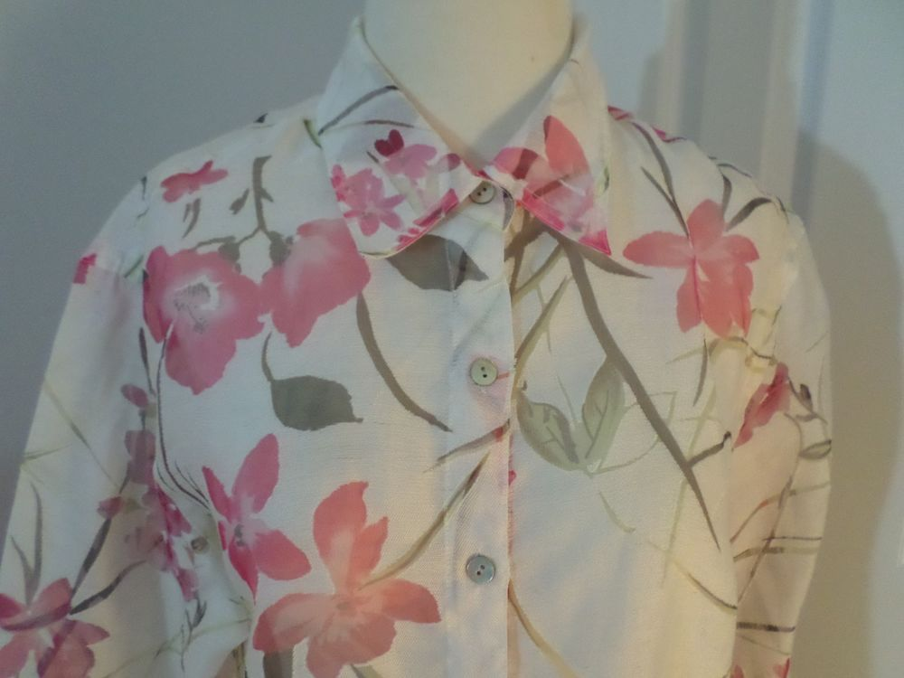Notations Blouse Top Career Three Quarter Sleeve Sheer Flowers Size M #Notations #Blouse #Career