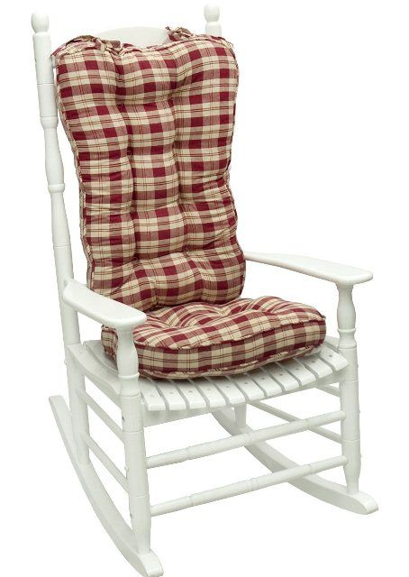 Greendale Home Fashions Applegate Plaid Jumbo Rocking Chair Cushion