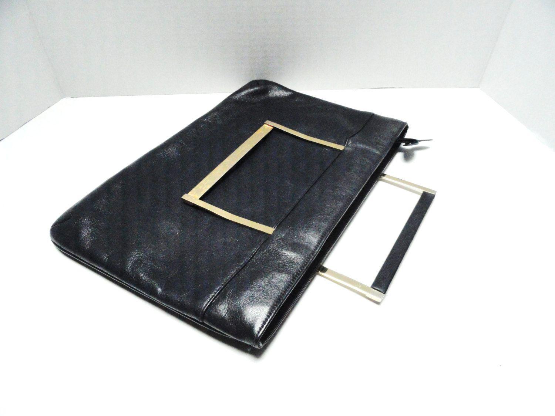 Vintage Handbag Vintage Clutch 60s Gail Browner Navy Blue Leather Clutch Retractable Handles by 2sweet4wordsVintage on Etsy