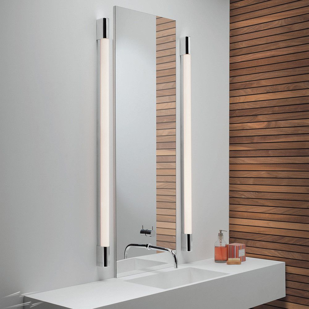Bathroom lights bathroom wall lights artemis 900 rounded led strip - Palermo 1200 Bathroom Wall Light In Polished Chrome With Diffuser Ip44 Over Mirror Strip Light
