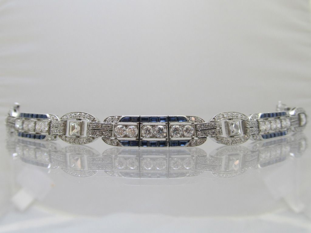 Tiffany Co Art Deco Diamond Sapphire Bracelet Sapphire Bracelet Art Deco Bracelet Art Deco Diamond
