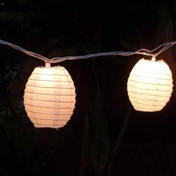 String Lights, 4-inch Kawaii Paper Lanterns, 6.5 feet, White