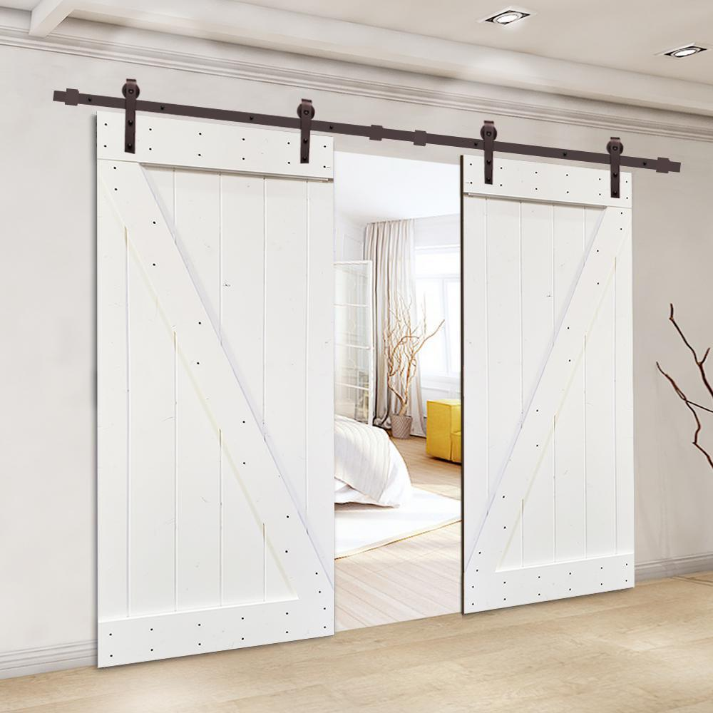 calhome barn door on Calhome 36 In X 84 In Z Series White Solid Knotty Pine Wood Double Interior Sliding Barn Door With Hardware Kit Swd11 Ab 79 2 Dr Diy B36w 2 Cnnt Ab 1 Th In 2021 Interior Sliding Barn Doors Barn Door