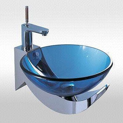 High Quality Ocean Blue Modern Bathroom Bowl Sink Glass And Chrome