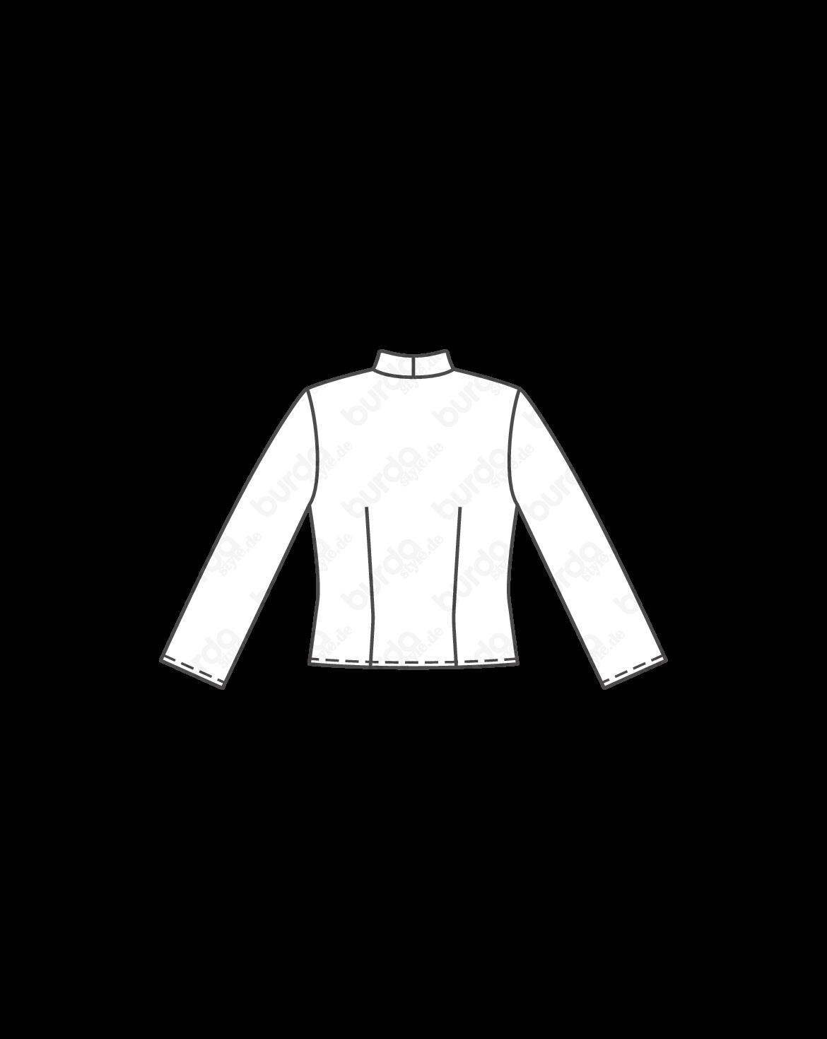 burda style, Schnittmuster, Bindebluse - 3/4-Ärmel 04/2013 #120B, Kurze Bluse mit Spatenkragen und 3/4-langen Ärmeln. Sie brauchen: Elastik-Popeline, querelastisch, 125 cm breit: 1,25 – 1,25 – 1,30 – 1,30 – 1,45 m. Vlieseline G 785. 1 Knopf. Stoffempfehlung: Blusenstoffe, mit oder ohne Elastan-Anteil.