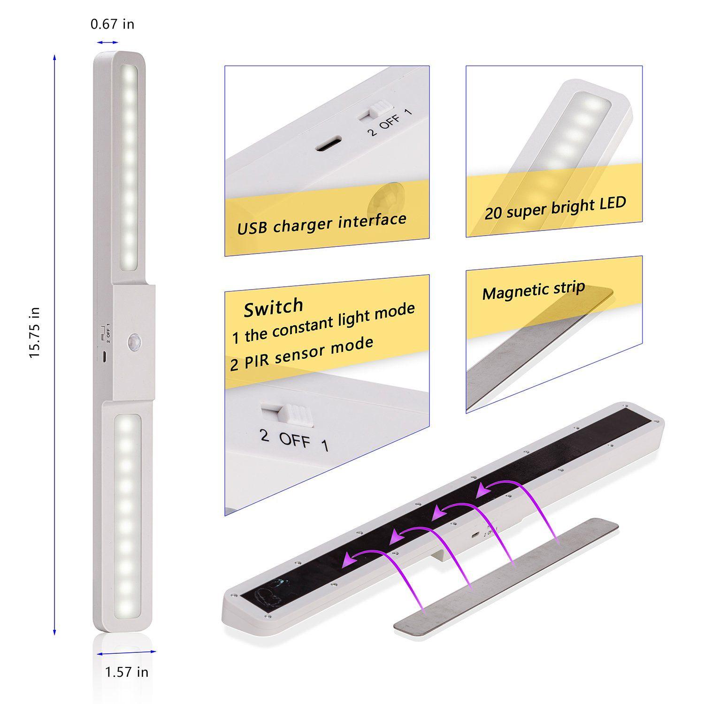 Motion sensor led closet light cabinet lights build in rechargeable