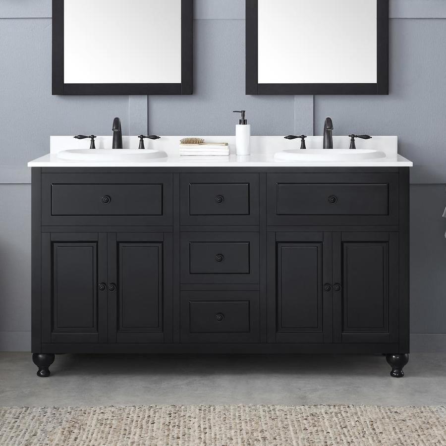 Ove Decors Kensington 60 In Antique Black Double Sink Bathroom