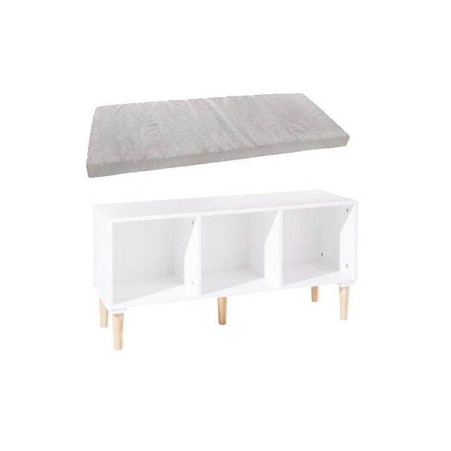 rangement 3 cases banc avec coussin rectangle gris ce joli banc avec coussin gris sera un