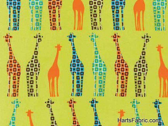 Urban Circus Fabric Green Giraffes