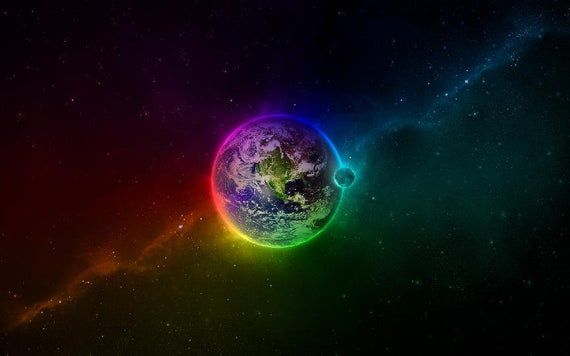 Mini-Mural Earth In Technicolor Wall Graphic Planet Vinyl Sticker Decal Rainbow Space Galaxy Home Ki