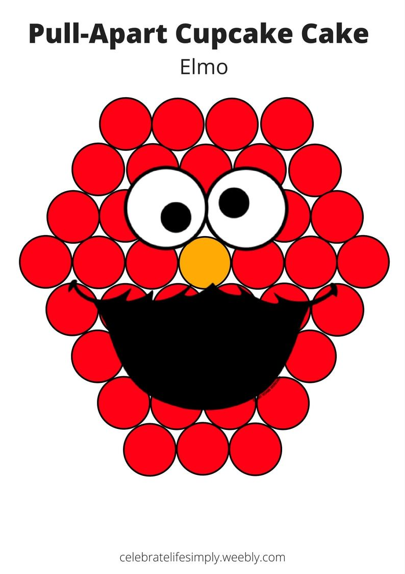 Elmo Pull Apart Cupcake Cake Template Over 100 Free Templates For