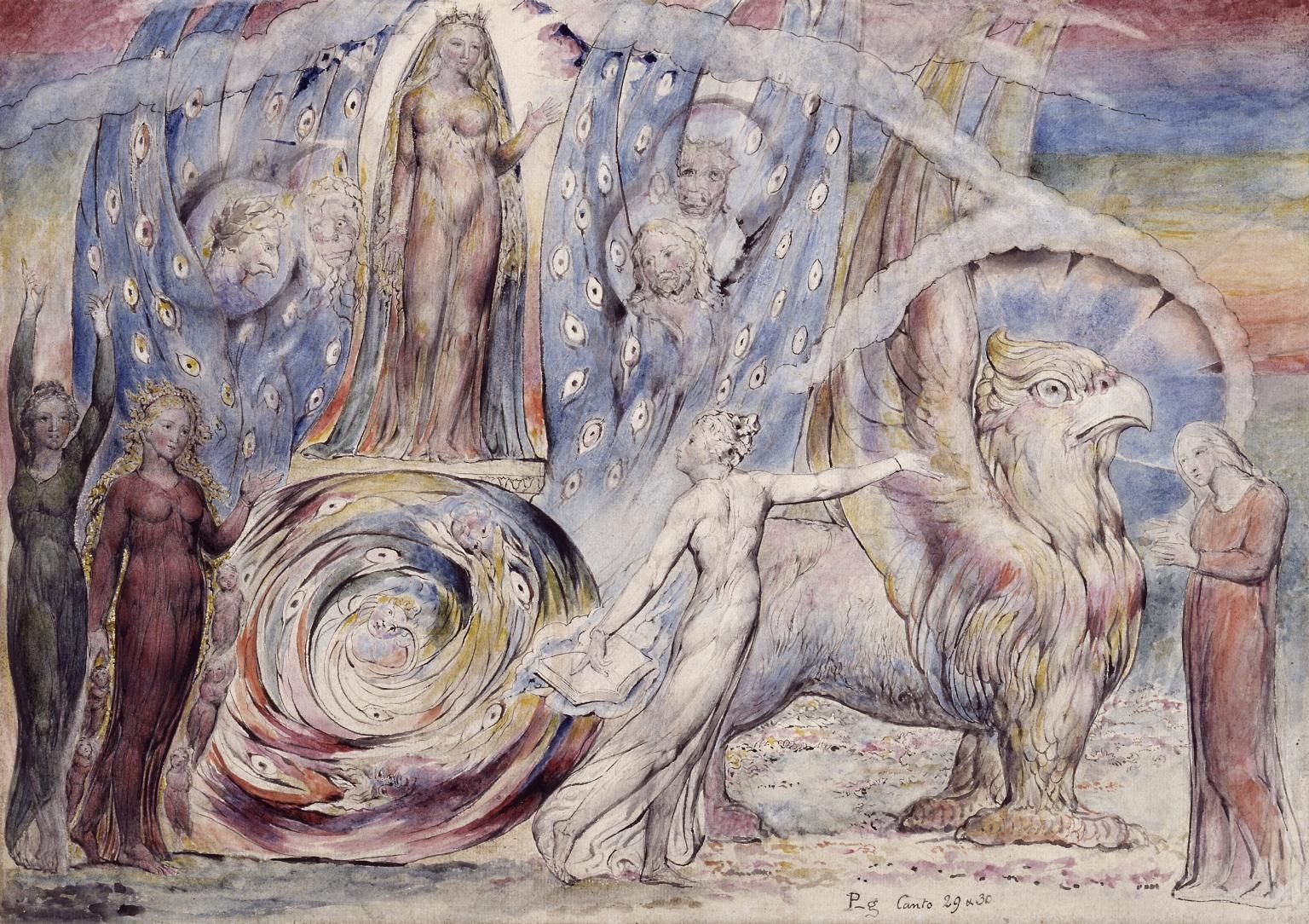 """Beatrice Addressing Dante from the Car"" by Wm Blake"