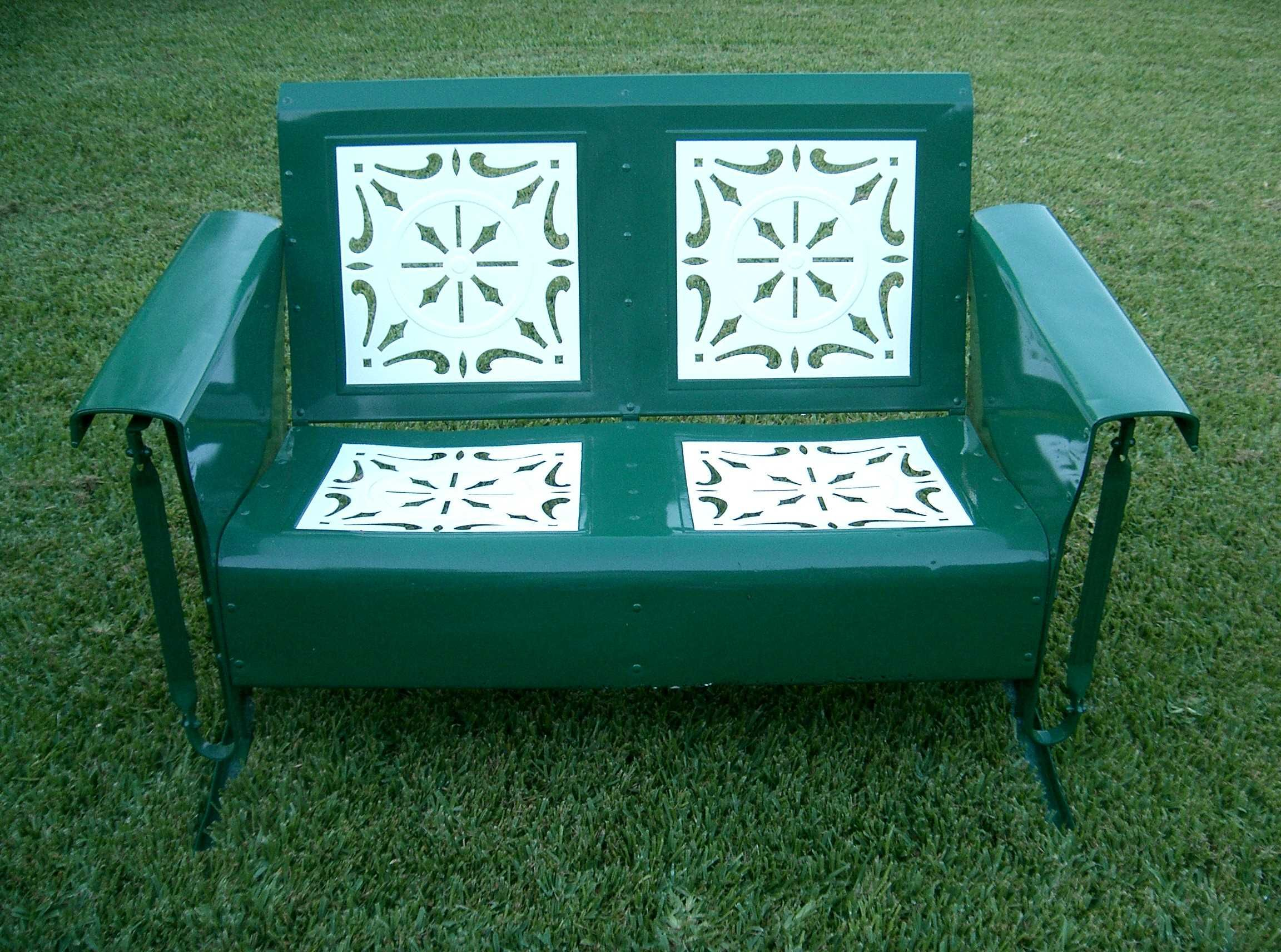 Grass Green And White Paint Shabby Chic Loveseat Metal