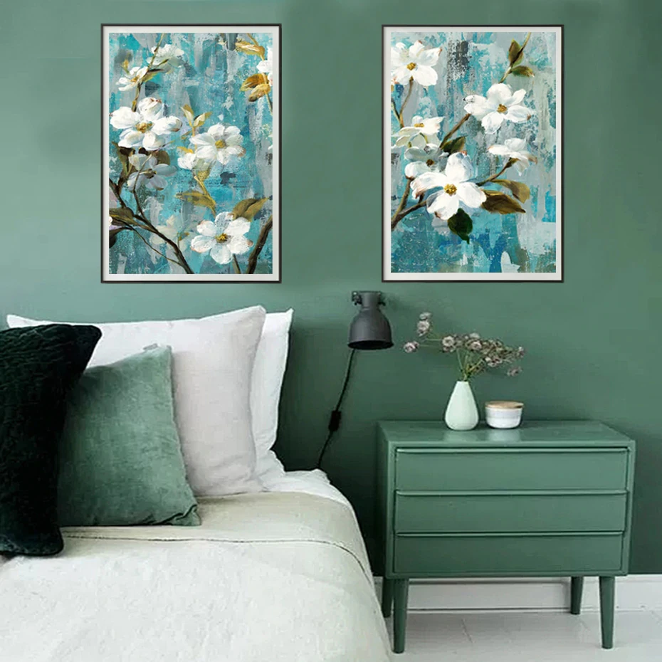 Modern Rustic Floral Wall Art White Apple Blossom Fine Art Canvas Prints Rustic Floral Wall Art Picture Wall White Home Decor