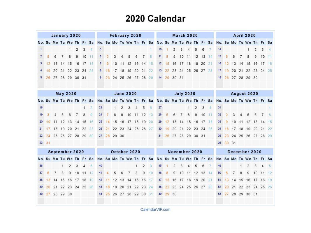 2020 Calendar Printable Dengan Gambar