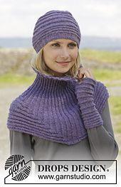 Free pattern on Ravelry: 158-6 Chloe Hat & Neckwarmer by DROPS design