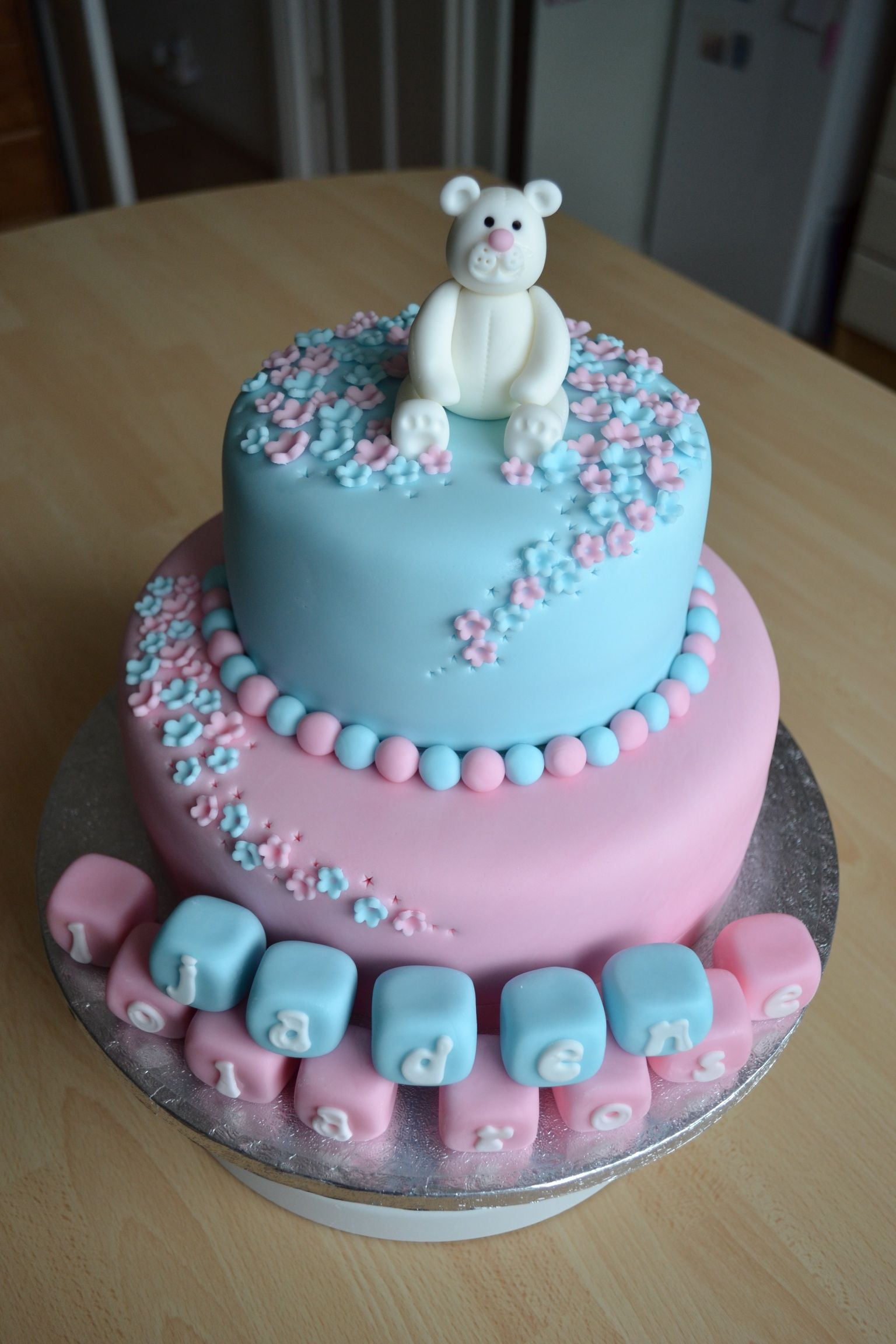 pink and blue christening cake   azombiestolemycupcake