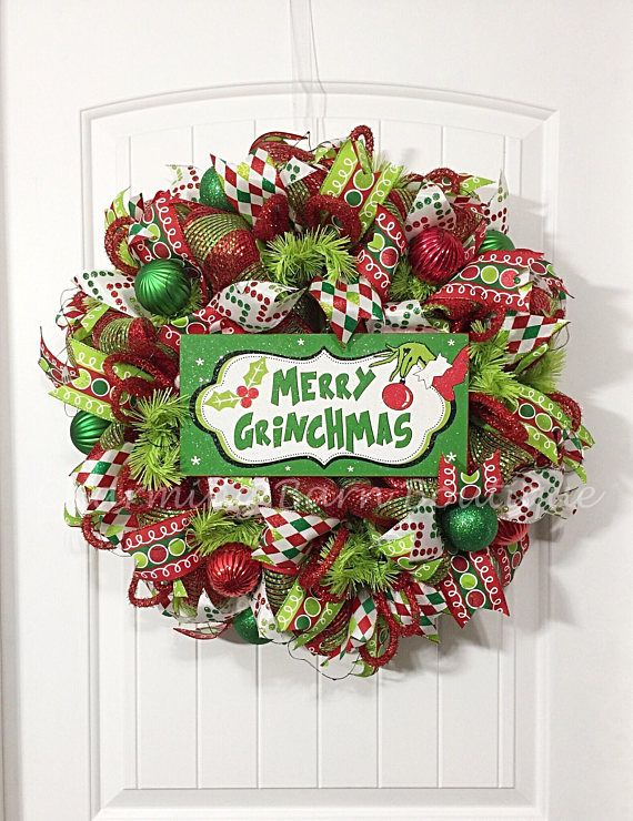 PLEASE READ ALL DETAILS BEFORE PURCHASING** Christmas Wreath, Grinch