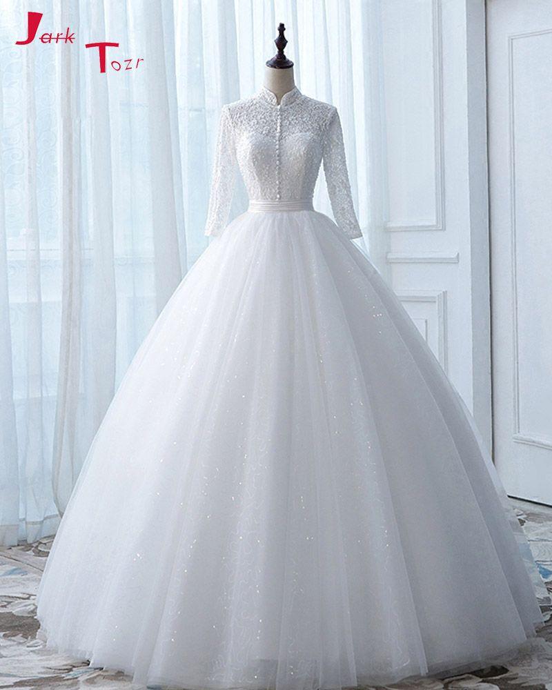 Jark Tozr New Arrive High Neck Open Back Long Sleeve White Ball Gown Wedding Dress None Train Ge Wedding Dresses Wedding Dresses Vintage Modest Wedding Dresses [ 1000 x 800 Pixel ]