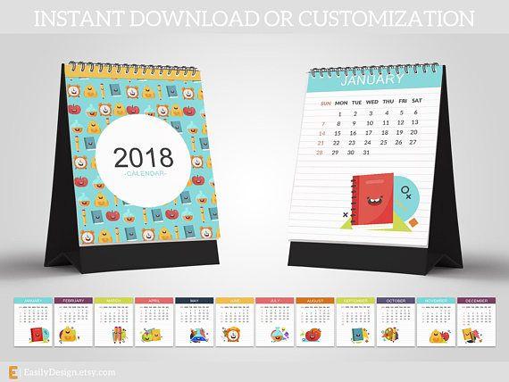 2018 Calendar Template 85x11 School Calendar Kid Calendar