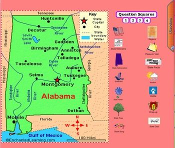 This notebook software file is all about Alabama.  If you need a fun way of introducing the state this will help you out!  The file is 55 slides long. The slides include state symbols, fun facts, places to visit, weather, wildlife, and regions.  It provides basic information.