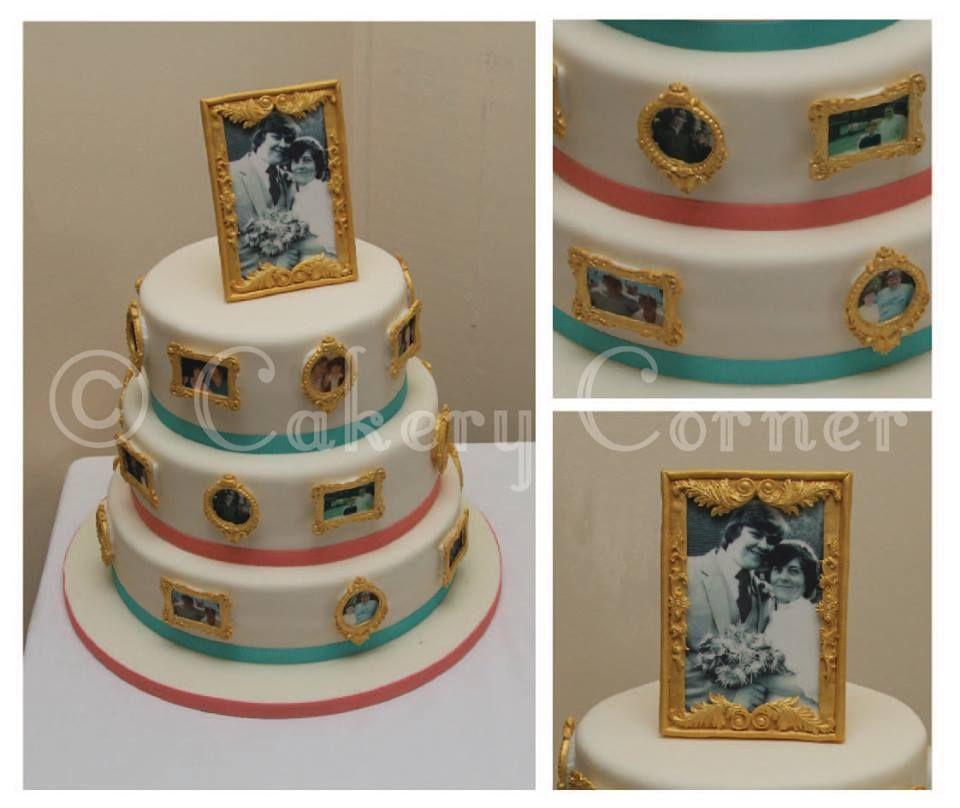 Anniversary Cake, Edible Photo Frame Cakery Corner Www.cakerycorner.co.uk