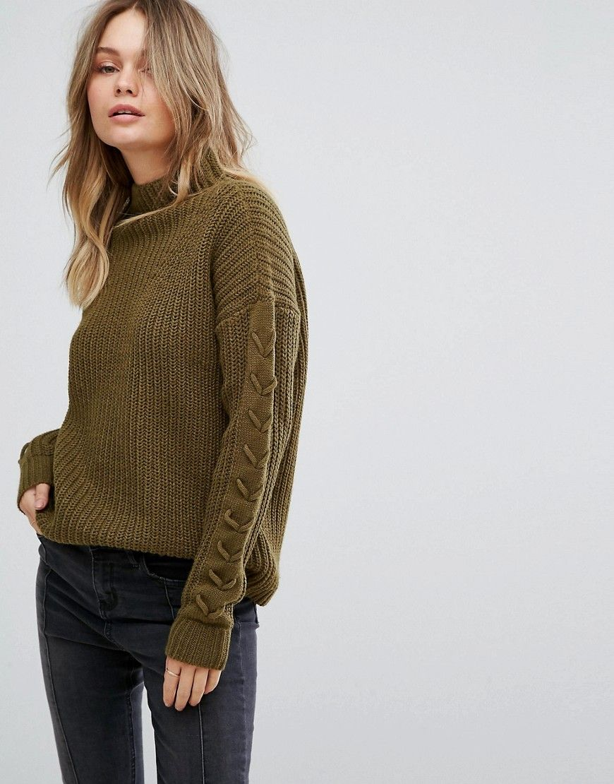 477ce72528f Vero Moda Funnel Neck Side Stitch Sweater - Green