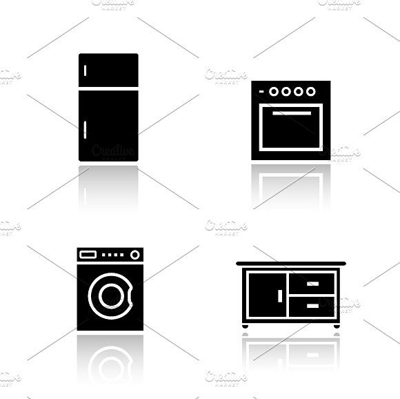 Kitchen Appliances Icons Vector Laundry Icons Home Icon