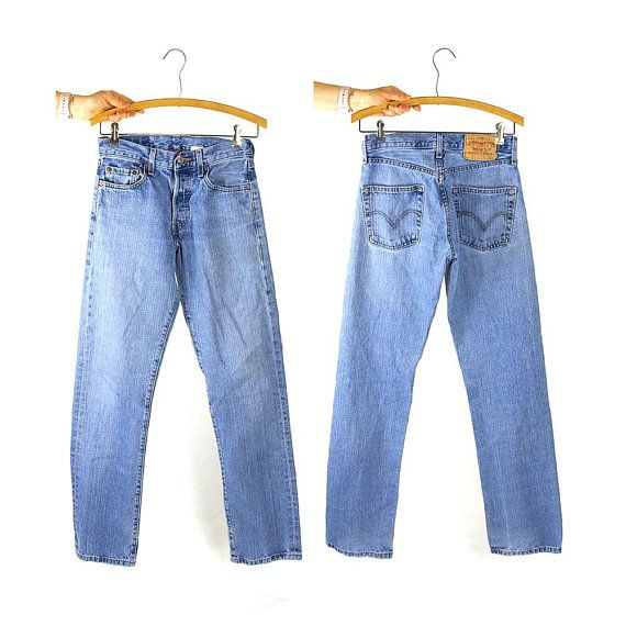 c5875a10d30 90s Levi's 501 Jeans Vintage 1990s Worn in Button Fly Red Tag Denim Classic  Medium Wash Levis Natura