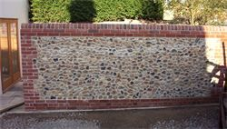 New Traditional Flint And Red Brick Garden Wall With Lime Mortar Brick Feature Wall Patio Stones Brick Garden