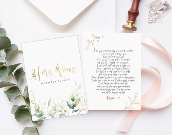 His And Her Wedding Vow Template Personalized Vow Booklet Editable