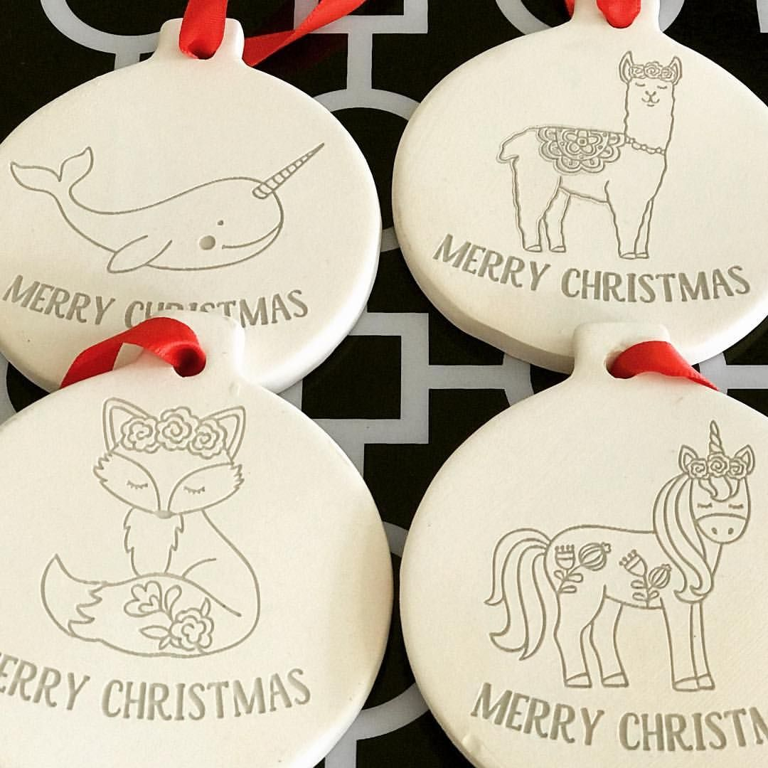 Christmas Ornaments Baked Clay Loving How Awesome My Laser Cuter Engraved Baked Clay Narwhal Llama Fox Unicorn Ornaments Craft Night Crafts Clay