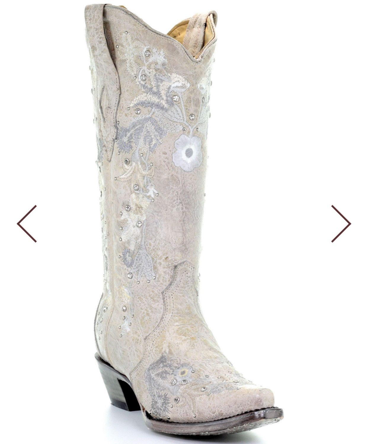 Corral womens white floral embroidered western boots