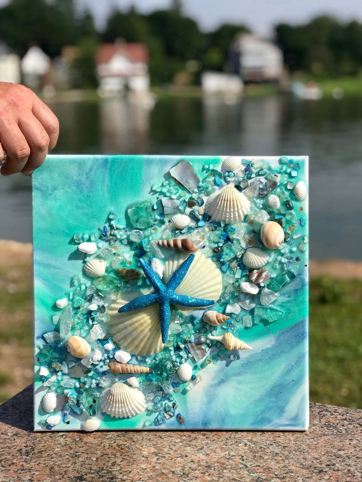 Free Shipping 12x12 Resin Geode Canvas With Beach Glass Image 5