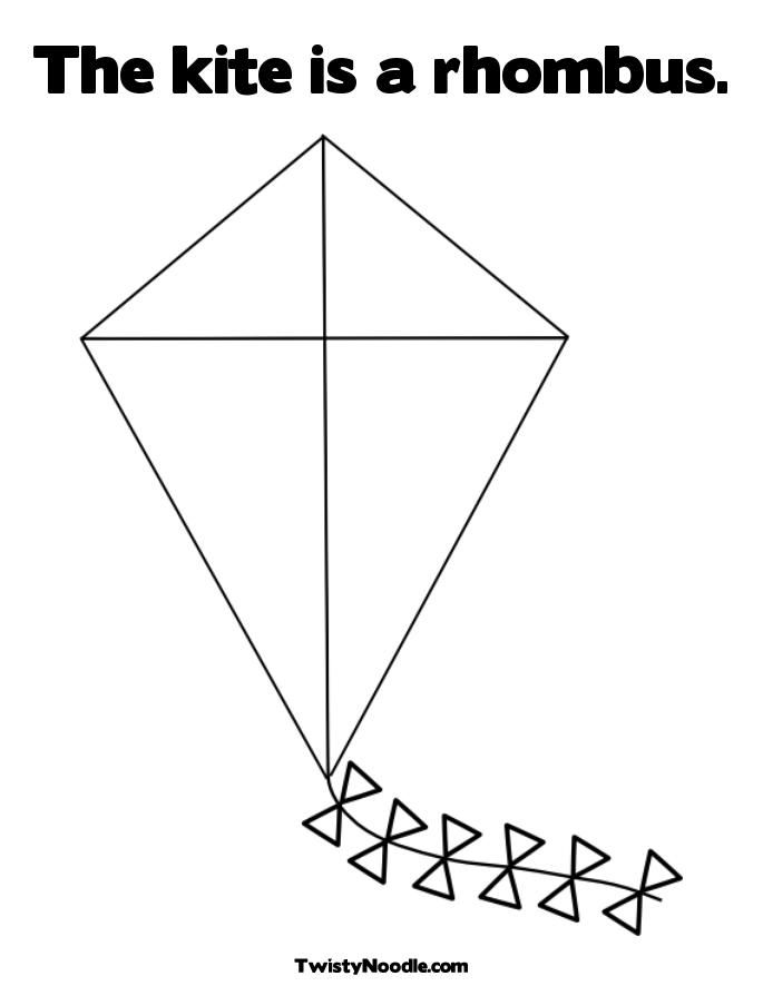 Kite Coloring Pages For Preschoolers Rhombus Kites Http